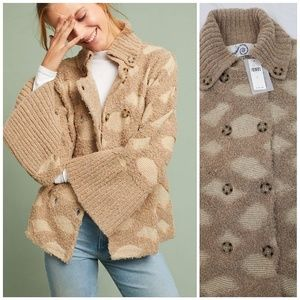 Anthro Rosie Neira Intarsia Spotted Cardigan Med